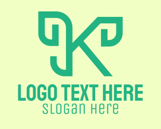 Bamboo - Green Cursive Letter K  logo design