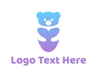 Polar Lights - Cute Neon Bear logo design