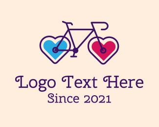 Bike Tour - Heart Couple Bike logo design