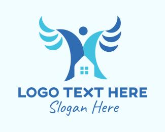 Angel - Blue Angel House logo design