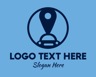 Blue Car - Car Pin logo design