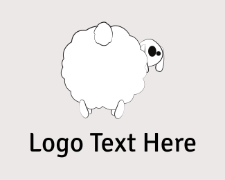 Farm - White Sheep Cartoon logo design