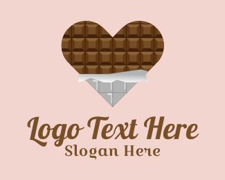 Chocolate - Heart Chocolate Dessert logo design