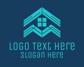 Apartment - Blue House Roof Window logo design
