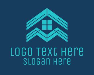 Rental - Blue House Roof Window logo design