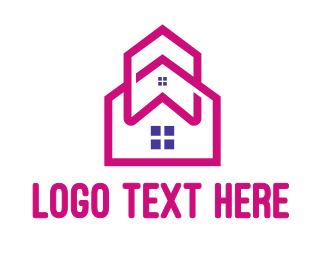 Renovate - Pink House Outline logo design