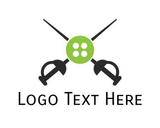 Fencing - Button Sword logo design