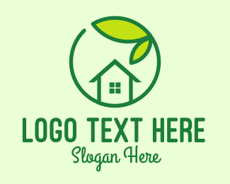 Home Garden - Green Leaf Home Realtor logo design