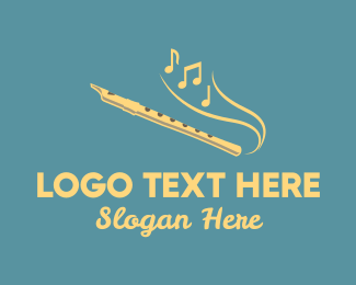 Brass Instrument - Yellow Musical Flute  logo design