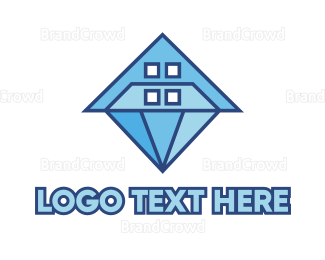 Mansion - Polygon House Diamond logo design