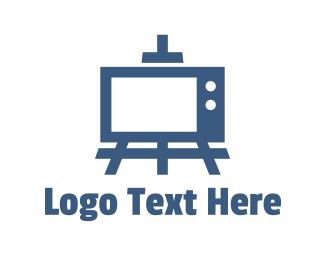Tv - Blue Painting TV logo design