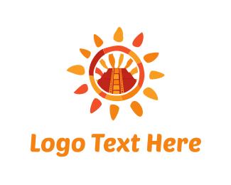 Sunrise - Aztec Sun logo design