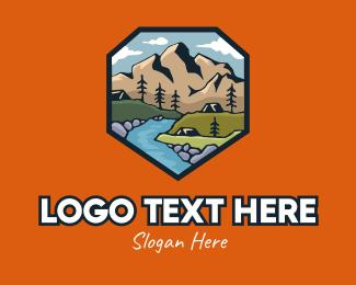 Scenery - Riverside Campsite Badge logo design