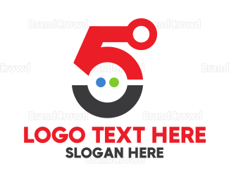 Fifth - Futuristic Number 5 logo design