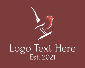 Minimalist  Swallow Bird Logo