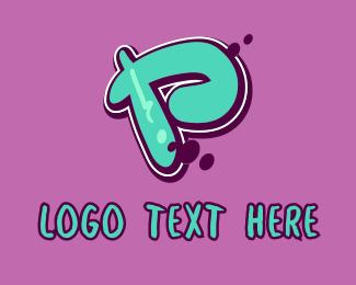 Mural - Modern Graffiti Letter P logo design