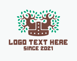 Green Helmet - Viking Forest Helmet logo design