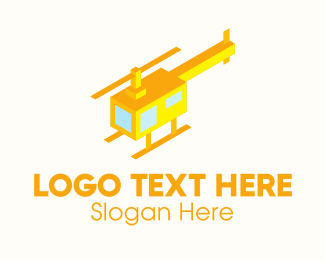 Military - Modern Yellow Helicopter  logo design