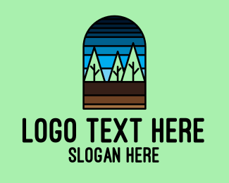 Stained - Forest Trees Mosaic  logo design