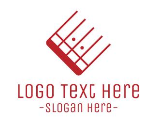 Guitarist - Red Music Keys logo design