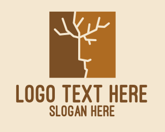 Seasonal - Tree Branch Face logo design