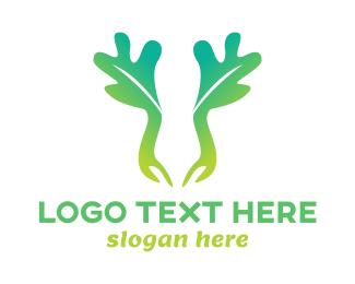 Salad Bar - Green Moose Leaf logo design