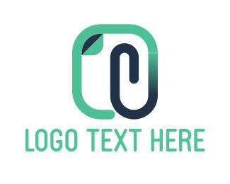 Paper Clip - Mint Clip logo design