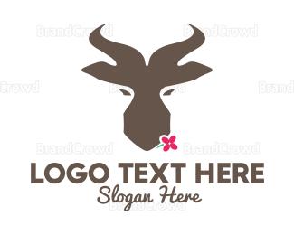 Antelope - Brown Springbok Flower logo design