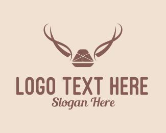Camper - Brown Antlers Rustic  logo design