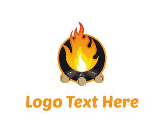 Cabin - Orange Campfire  logo design