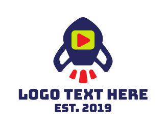 Blue Rocket - Media Rocket  logo design