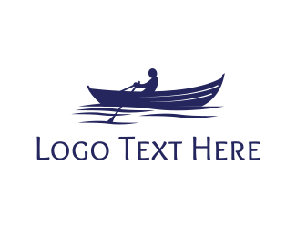 Row - Fisherman Rowboat Boat logo design