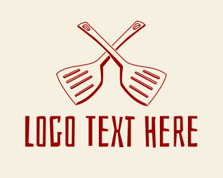 Fry - Crossed Cooking Spatulas  logo design