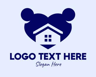 House - Home Residence Heart  logo design