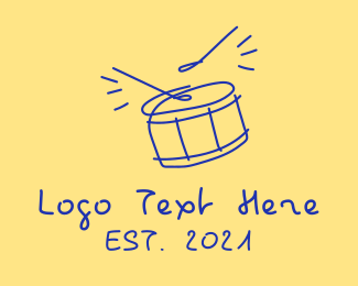 Drumline - Blue Drum Line Art logo design