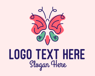 Childrens Fashion - Cute Feminine Butterfly logo design