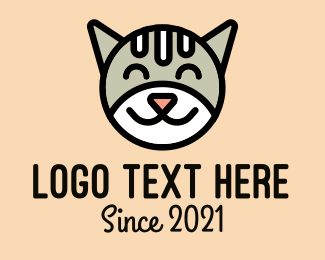 Pet Cat - Happy Cat Face logo design