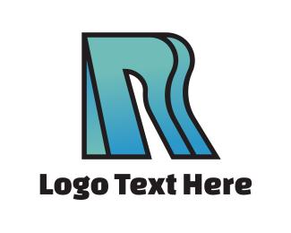 Swoosh - Curvy Gradient R logo design
