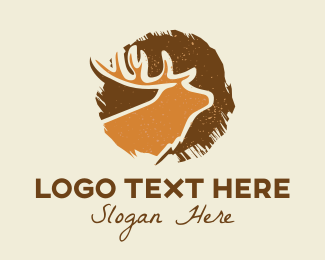 Bust - Deer Brushstroke logo design