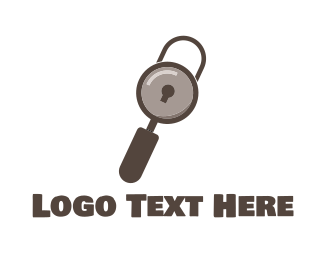Secure - Search Padlock logo design