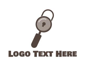 Secret - Search Padlock logo design