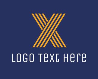 Striped Orange Letter X Logo