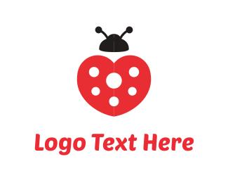 Bug - Heart Ladybug logo design