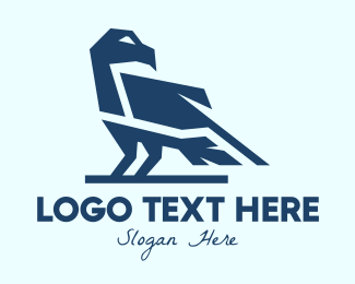 Flying Animal - Blue Modern Bird logo design