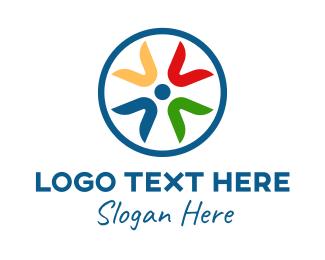 Inclusion - Letter V Circle Emblem  logo design