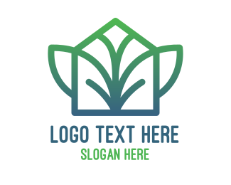 Green City - Green Abstract Leaf House logo design