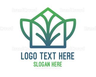 Herbal - Gradient Leaf Wing House logo design
