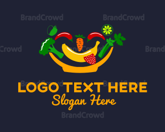 Banana - Happy Bowl logo design