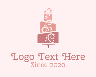 High Tea - Cute Pink Wedding Cake logo design