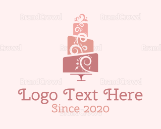 Pastry - Cute Pink Wedding Cake logo design
